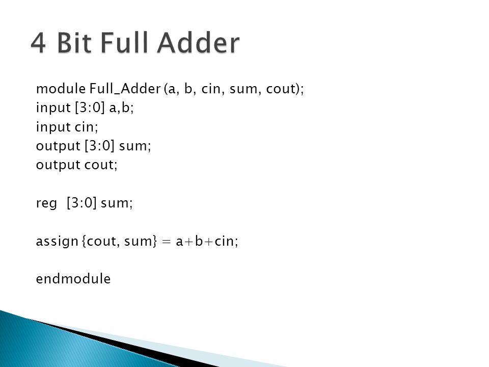 module Full_Adder (a, b, cin, sum, cout); input [3:0] a,b; input cin; output [3:0] sum; output cout; reg [3:0] sum; assign {cout, sum} = a+b+cin; endmodule
