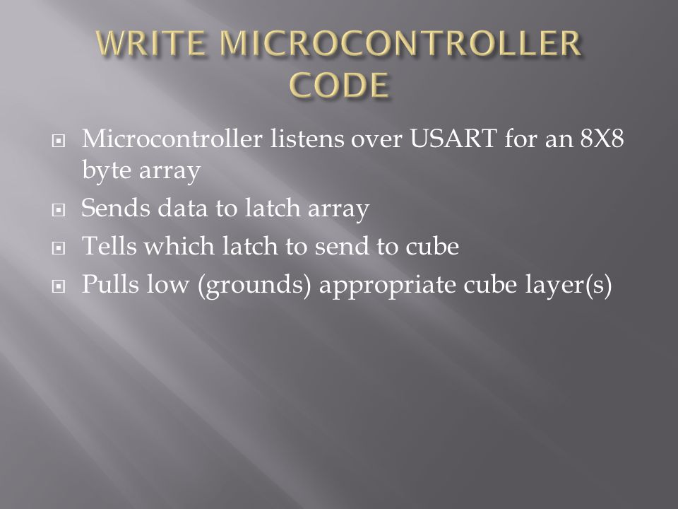  Microcontroller listens over USART for an 8X8 byte array  Sends data to latch array  Tells which latch to send to cube  Pulls low (grounds) appropriate cube layer(s)