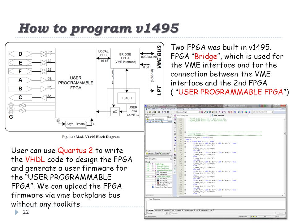 """How to program v1495 22 Two FPGA was built in v1495. FPGA """"Bridge"""", which is used for the VME interface and for the connection between the VME interfa"""