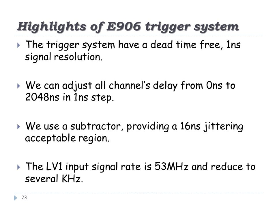 Highlights of E906 trigger system 23  The trigger system have a dead time free, 1ns signal resolution.  We can adjust all channel's delay from 0ns t