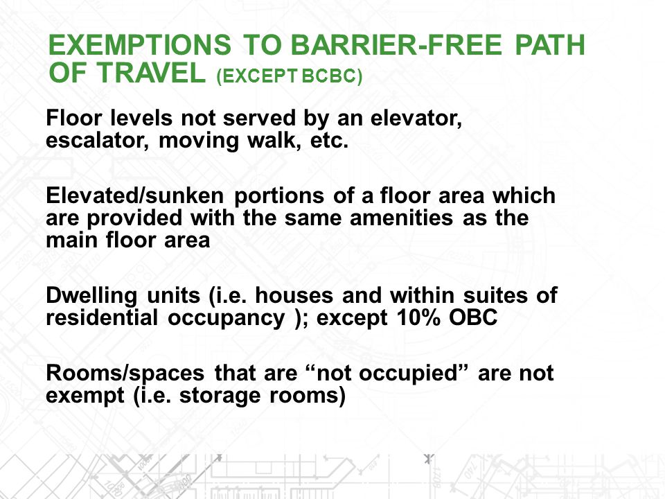 Floor levels not served by an elevator, escalator, moving walk, etc. Elevated/sunken portions of a floor area which are provided with the same ameniti