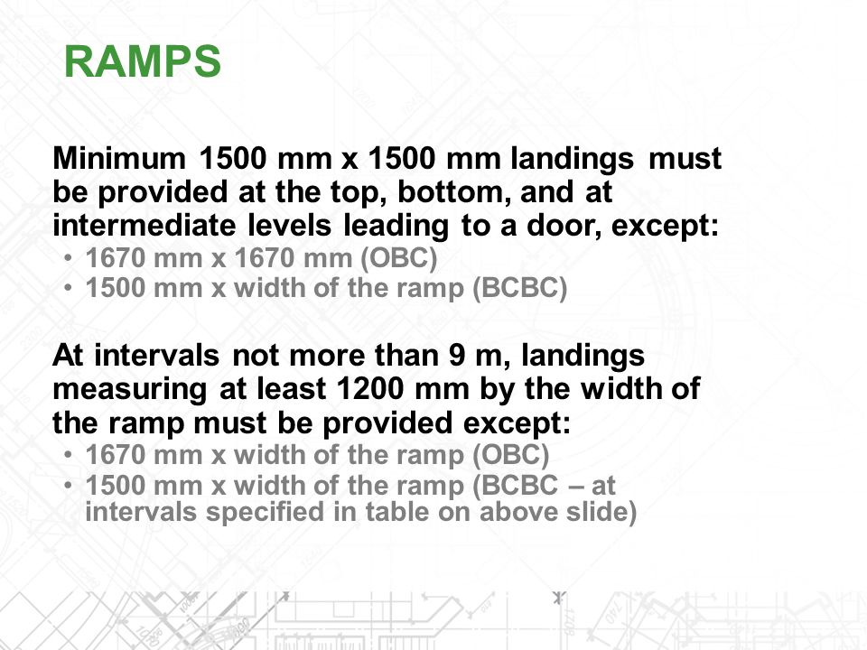Minimum 1500 mm x 1500 mm landings must be provided at the top, bottom, and at intermediate levels leading to a door, except: 1670 mm x 1670 mm (OBC)