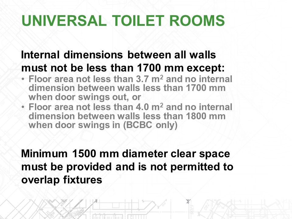 Internal dimensions between all walls must not be less than 1700 mm except: Floor area not less than 3.7 m 2 and no internal dimension between walls l