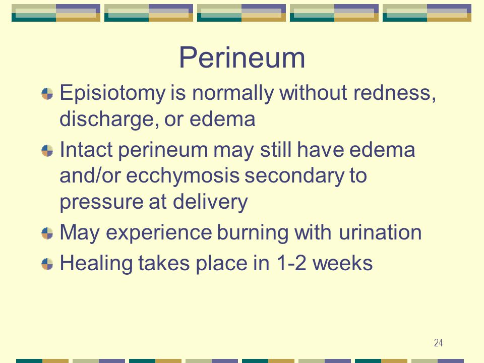 24 Perineum Episiotomy is normally without redness, discharge, or edema Intact perineum may still have edema and/or ecchymosis secondary to pressure a