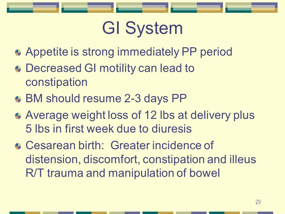 29 GI System Appetite is strong immediately PP period Decreased GI motility can lead to constipation BM should resume 2-3 days PP Average weight loss
