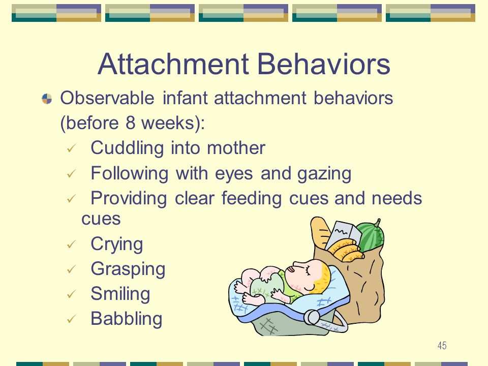 45 Attachment Behaviors Observable infant attachment behaviors (before 8 weeks): Cuddling into mother Following with eyes and gazing Providing clear f