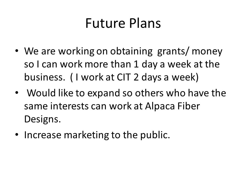 Future Plans We are working on obtaining grants/ money so I can work more than 1 day a week at the business. ( I work at CIT 2 days a week) Would like