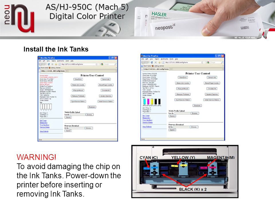 Install the Ink Tanks AS/HJ-950C (Mach 5) Digital Color Printer WARNING.