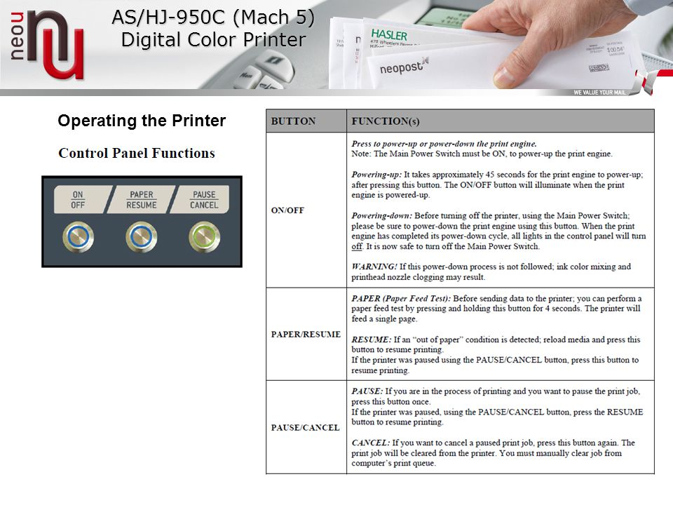 Operating the Printer AS/HJ-950C (Mach 5) Digital Color Printer