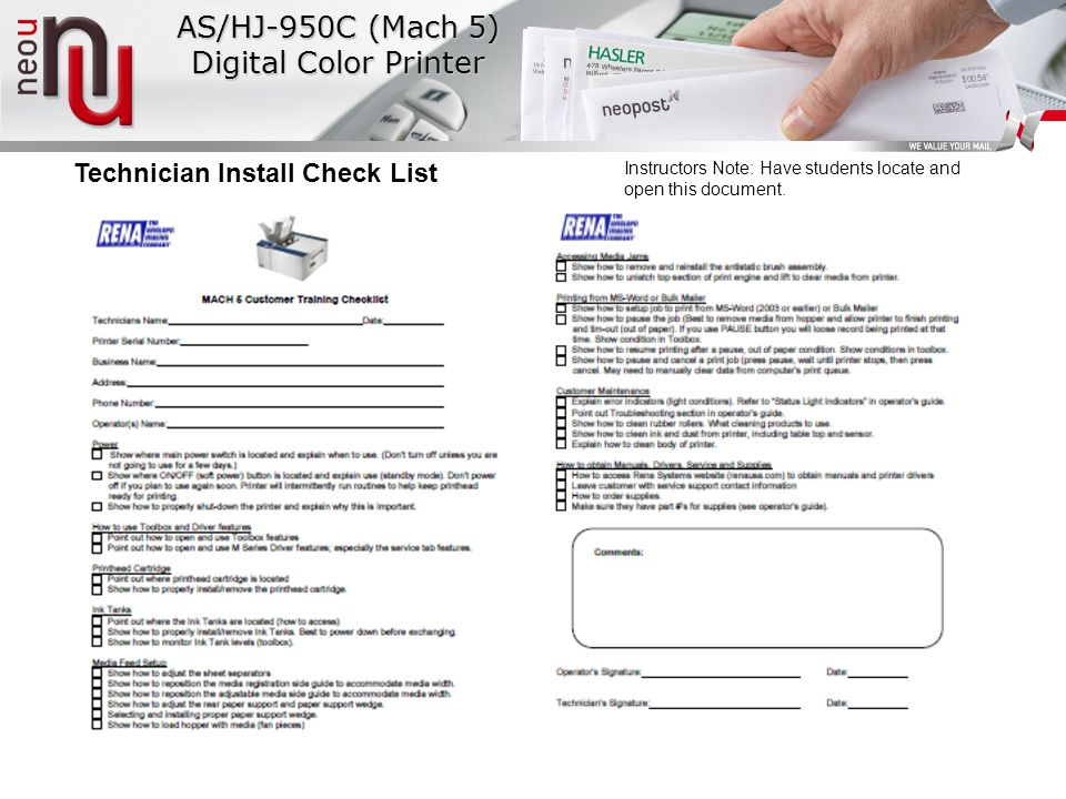 Technician Install Check List Instructors Note: Have students locate and open this document.