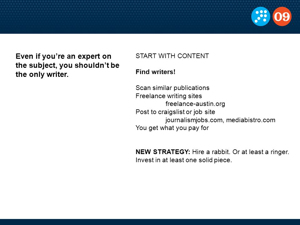 START WITH CONTENT Find writers.