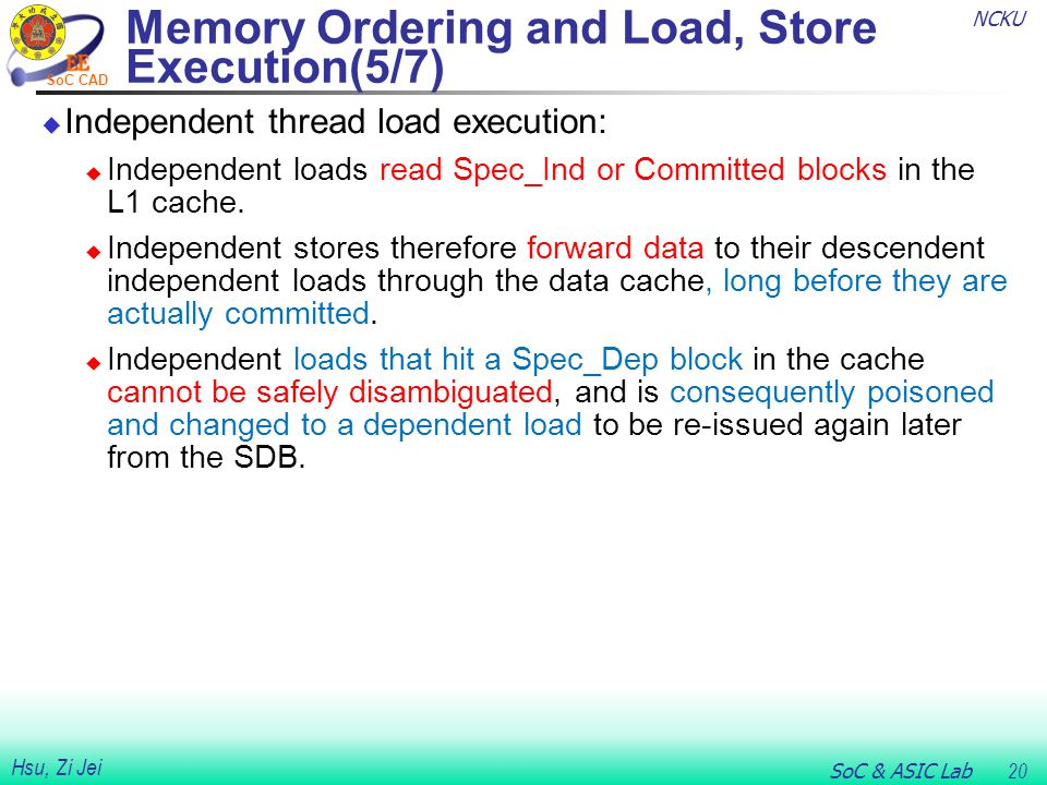 NCKU SoC & ASIC Lab 20 Hsu, Zi Jei SoC CAD Memory Ordering and Load, Store Execution(5/7)  Independent thread load execution:  Independent loads rea