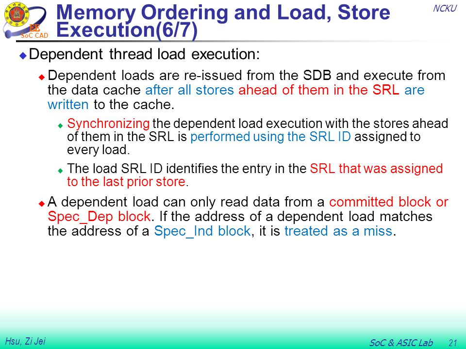 NCKU SoC & ASIC Lab 21 Hsu, Zi Jei SoC CAD Memory Ordering and Load, Store Execution(6/7)  Dependent thread load execution:  Dependent loads are re-