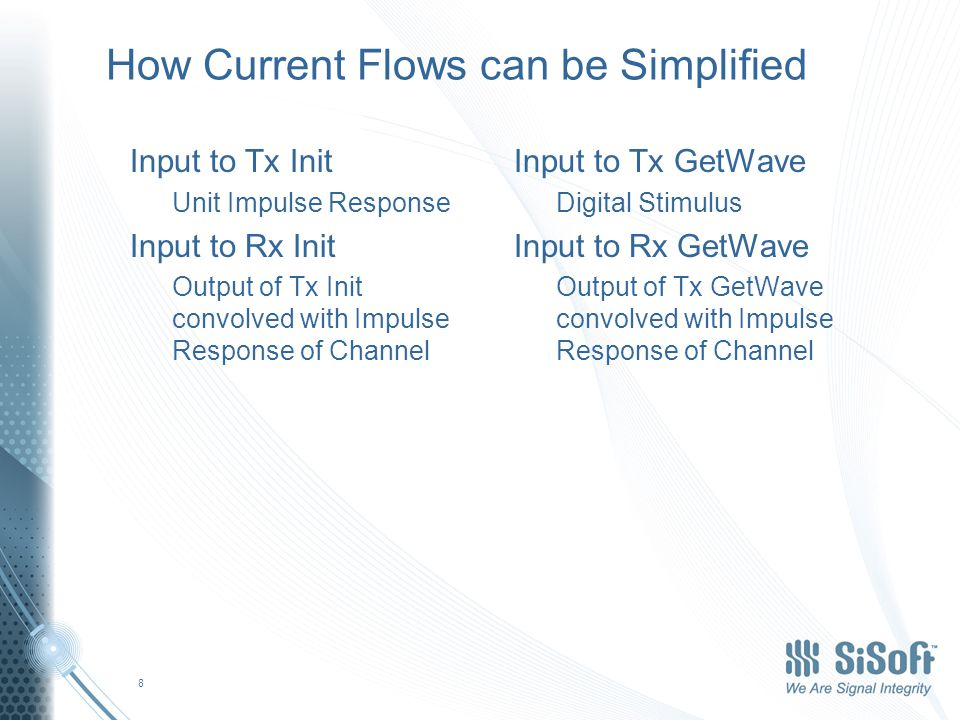 How Current Flows can be Simplified Input to Tx Init Unit Impulse Response Input to Rx Init Output of Tx Init convolved with Impulse Response of Channel Input to Tx GetWave Digital Stimulus Input to Rx GetWave Output of Tx GetWave convolved with Impulse Response of Channel 8