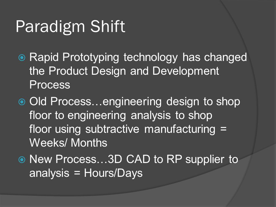 Paradigm Shift  Rapid Prototyping technology has changed the Product Design and Development Process  Old Process…engineering design to shop floor to engineering analysis to shop floor using subtractive manufacturing = Weeks/ Months  New Process…3D CAD to RP supplier to analysis = Hours/Days