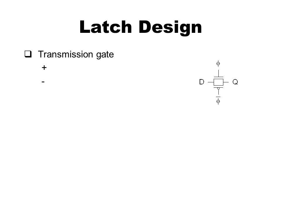 Latch Design  Transmission gate + -