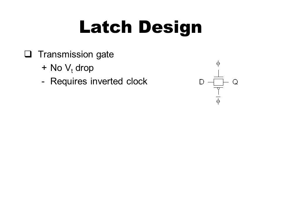 Latch Design  Transmission gate +No V t drop - Requires inverted clock
