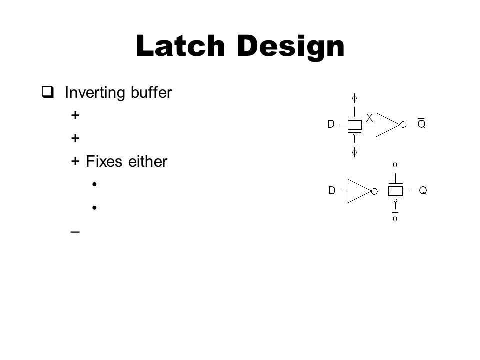 Latch Design  Inverting buffer + +Fixes either –