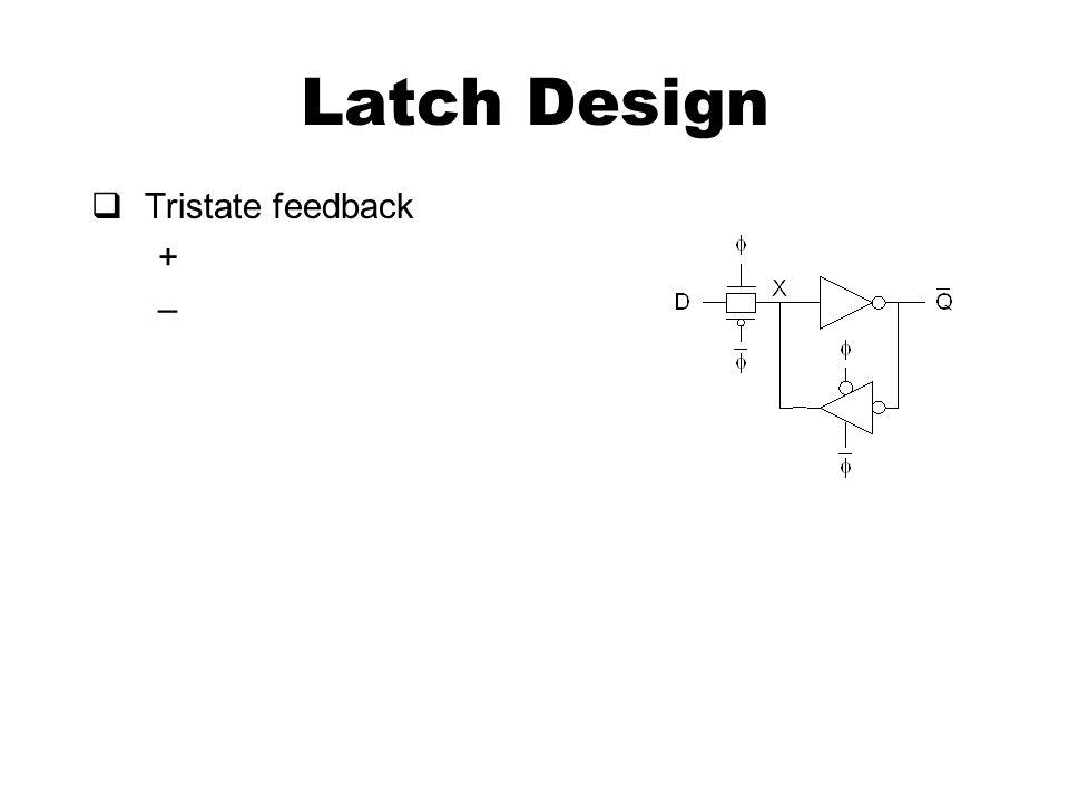 Latch Design  Tristate feedback + –