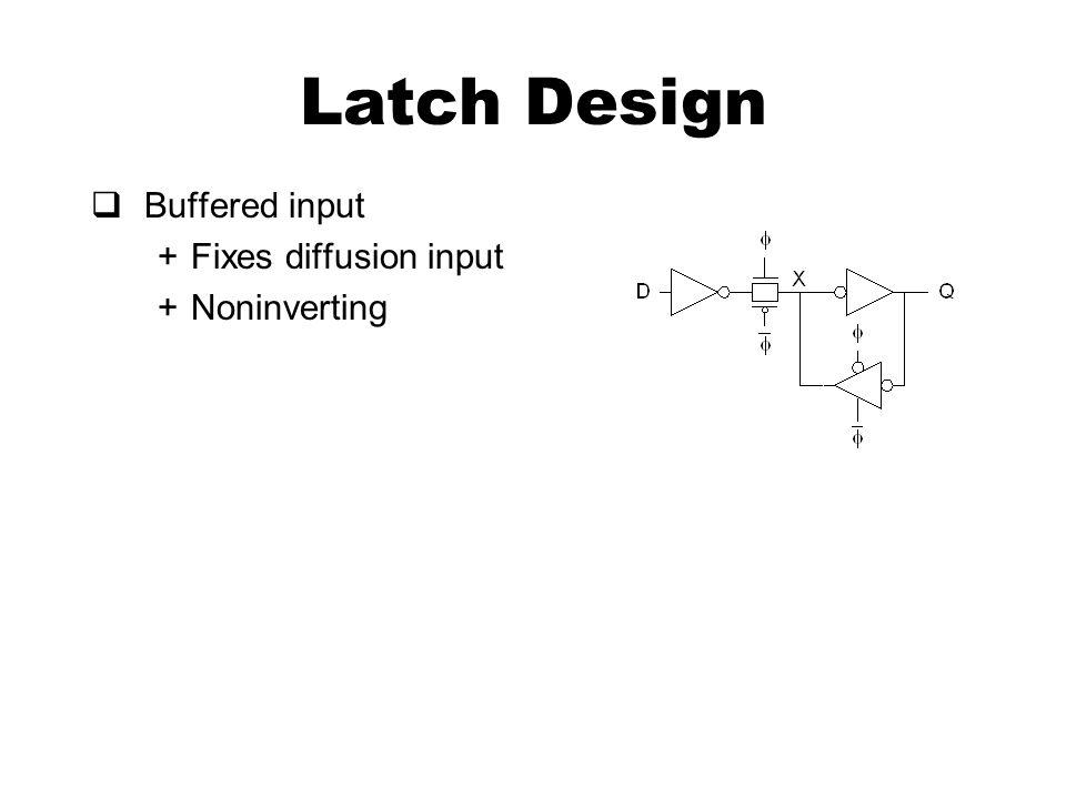 Latch Design  Buffered input +Fixes diffusion input +Noninverting