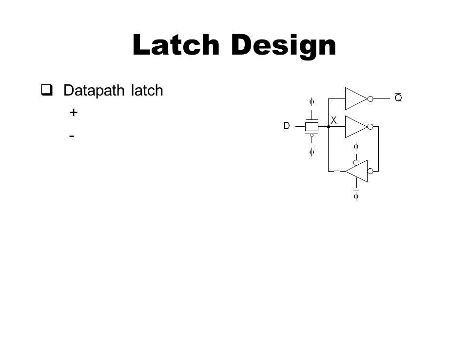 Latch Design  Datapath latch + -