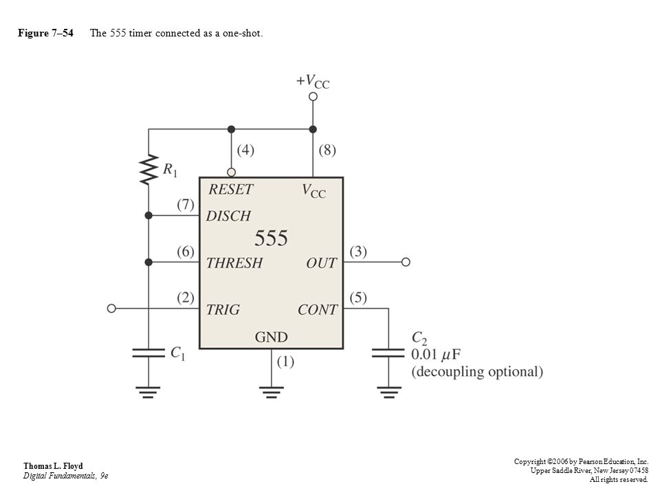 Figure 7–54 The 555 timer connected as a one-shot.