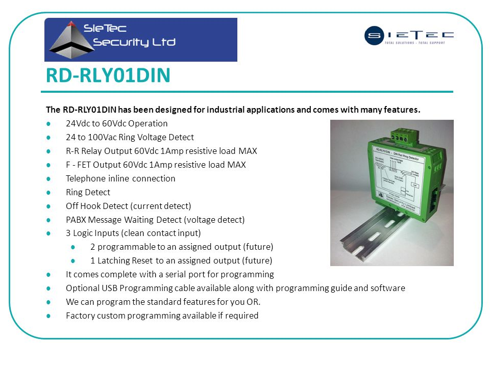RD-RLY01DIN The RD-RLY01DIN has been designed for industrial applications and comes with many features.