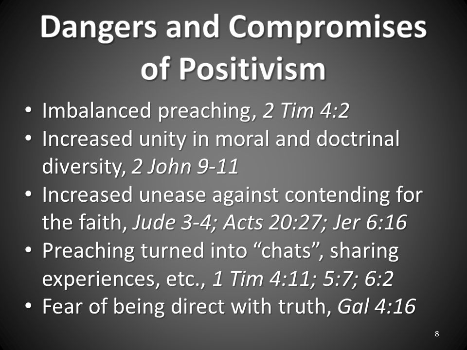 Imbalanced preaching, 2 Tim 4:2 Imbalanced preaching, 2 Tim 4:2 Increased unity in moral and doctrinal diversity, 2 John 9-11 Increased unity in moral