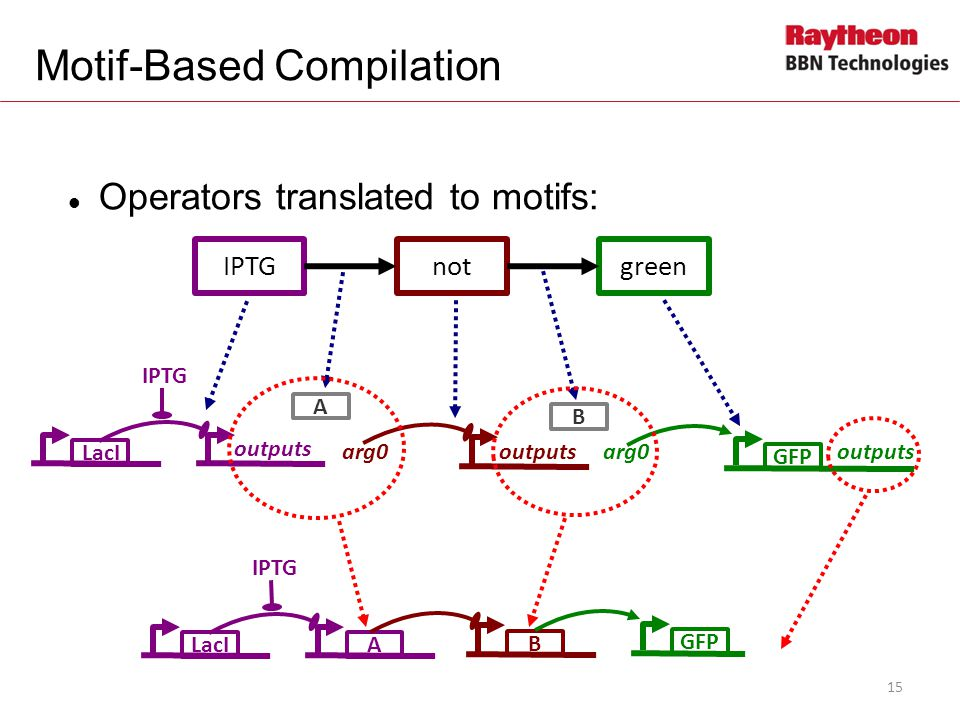 Operators translated to motifs: IPTGnotgreen LacI A IPTG B GFP outputs arg0 LacIA IPTG B GFP Motif-Based Compilation 15