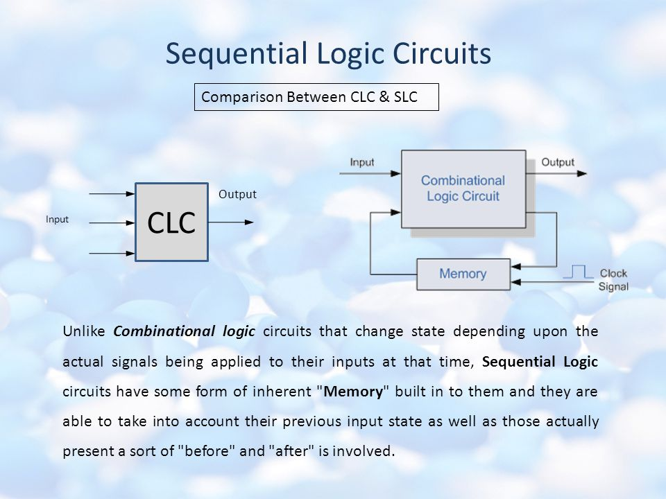Sequential Logic Circuits CLC Input Output Comparison Between CLC & SLC Unlike Combinational logic circuits that change state depending upon the actual signals being applied to their inputs at that time, Sequential Logic circuits have some form of inherent Memory built in to them and they are able to take into account their previous input state as well as those actually present a sort of before and after is involved.
