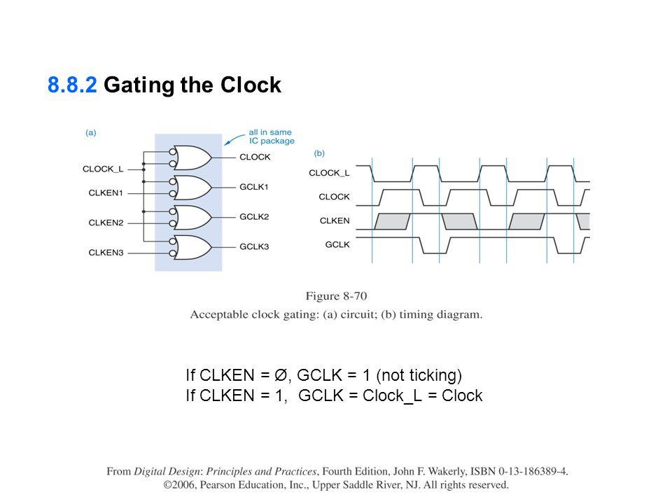 If CLKEN = Ø, GCLK = 1 (not ticking) If CLKEN = 1, GCLK = Clock_L = Clock 8.8.2 Gating the Clock