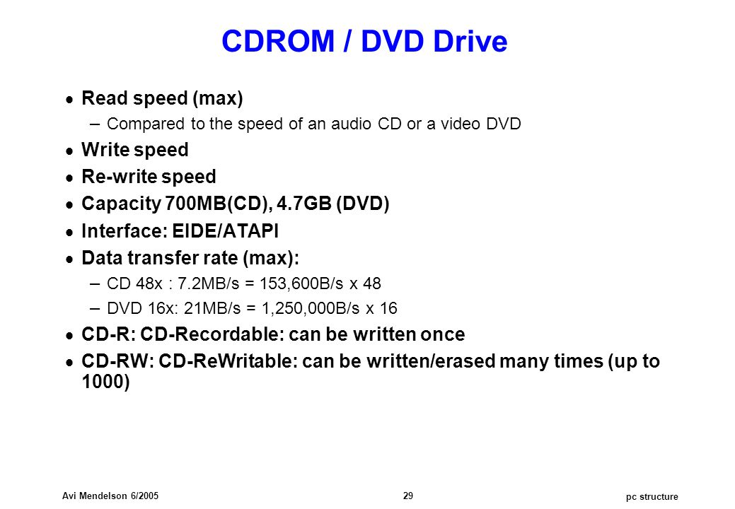 pc structure Avi Mendelson 6/2005 29 CDROM / DVD Drive  Read speed (max) – Compared to the speed of an audio CD or a video DVD  Write speed  Re-write speed  Capacity 700MB(CD), 4.7GB (DVD)  Interface: EIDE/ATAPI  Data transfer rate (max): – CD 48x : 7.2MB/s = 153,600B/s x 48 – DVD 16x: 21MB/s = 1,250,000B/s x 16  CD-R: CD-Recordable: can be written once  CD-RW: CD-ReWritable: can be written/erased many times (up to 1000)