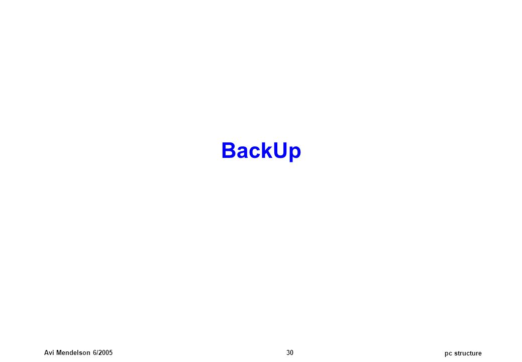 pc structure Avi Mendelson 6/2005 30 BackUp