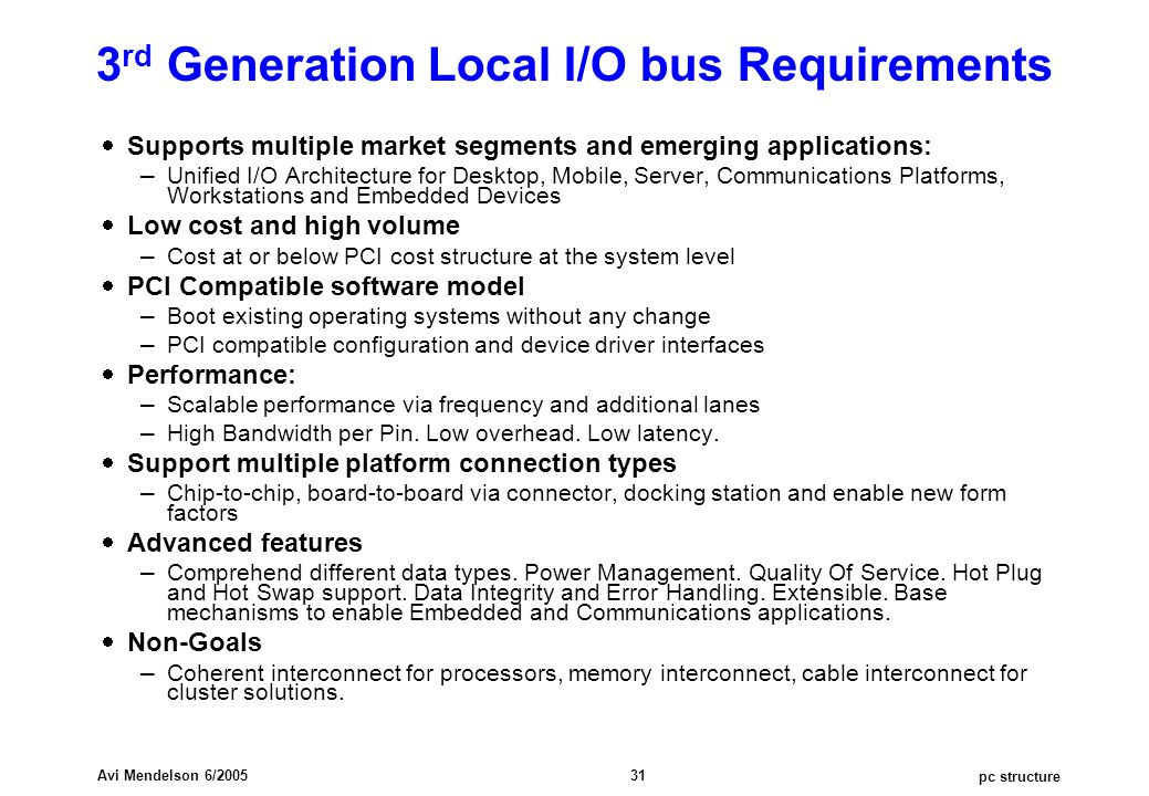 pc structure Avi Mendelson 6/2005 31 3 rd Generation Local I/O bus Requirements  Supports multiple market segments and emerging applications: – Unifi