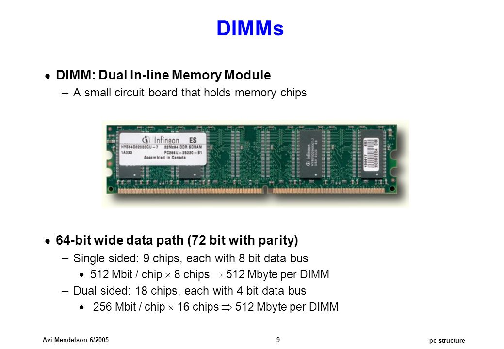 pc structure Avi Mendelson 6/2005 9 DIMMs  DIMM: Dual In-line Memory Module – A small circuit board that holds memory chips  64-bit wide data path (