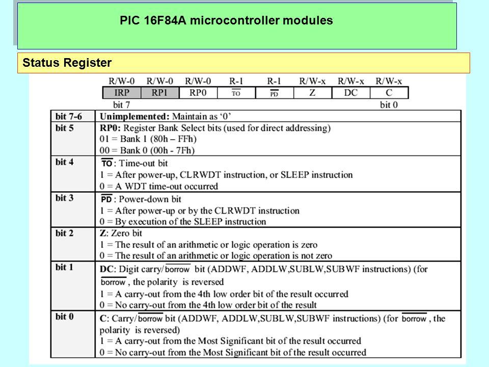 PIC 16F84A microcontroller modules Status Register