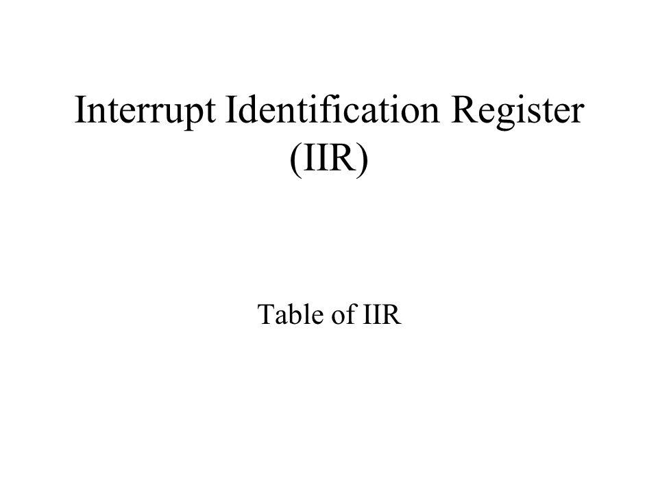 Interrupt Identification Register (IIR) Table of IIR
