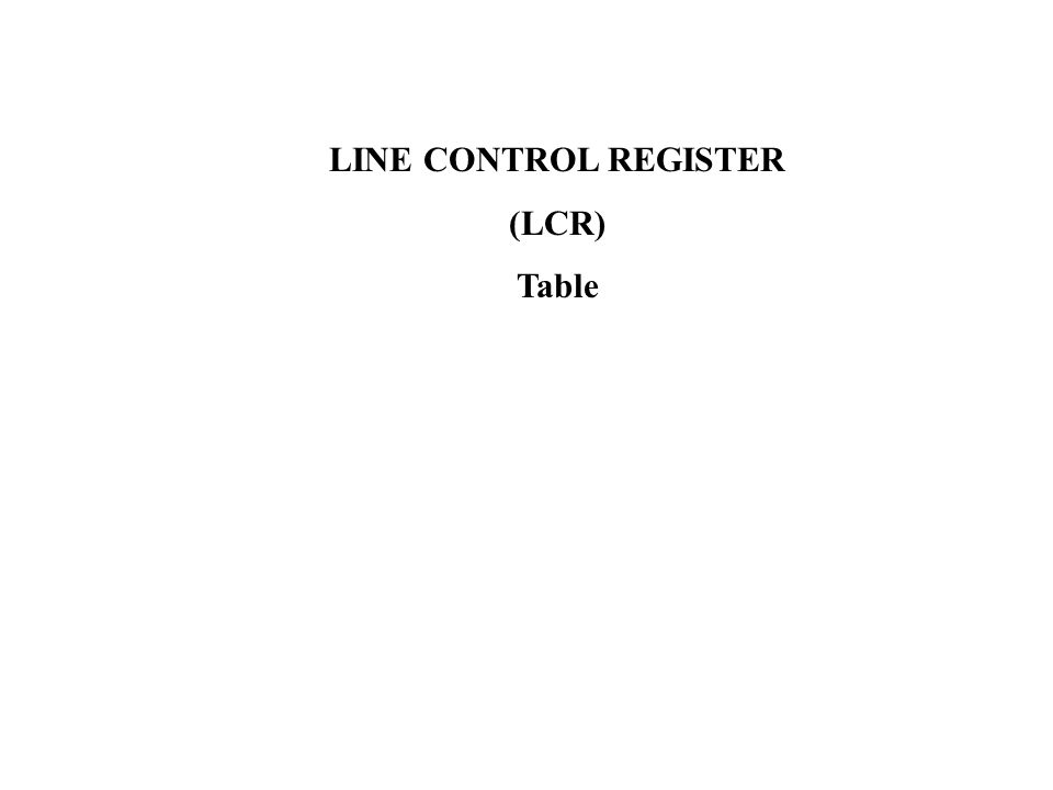 LINE CONTROL REGISTER (LCR) Table