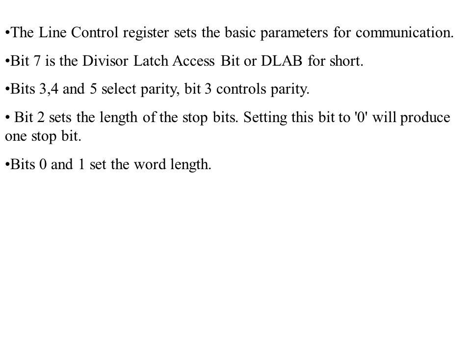 BitNotes Bit 7Reserved Bit 6Reserved Bit 5Autoflow Control Enabled (16750 only) Bit 4LoopBack Mode Bit 3Aux Output 2 Bit 2Aux Output 1 Bit 1Force Request to Send Bit 0Force Data Terminal Ready Modem Control Register (MCR) The Modem Control Register is a Read/Write Register