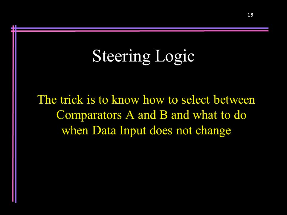 15 Steering Logic The trick is to know how to select between Comparators A and B and what to do when Data Input does not change