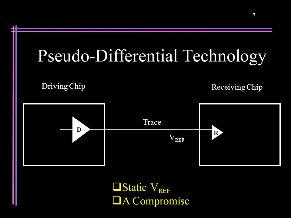 7 Pseudo-Differential Technology  Static V REF  A Compromise Receiving Chip Driving Chip D R Trace V REF