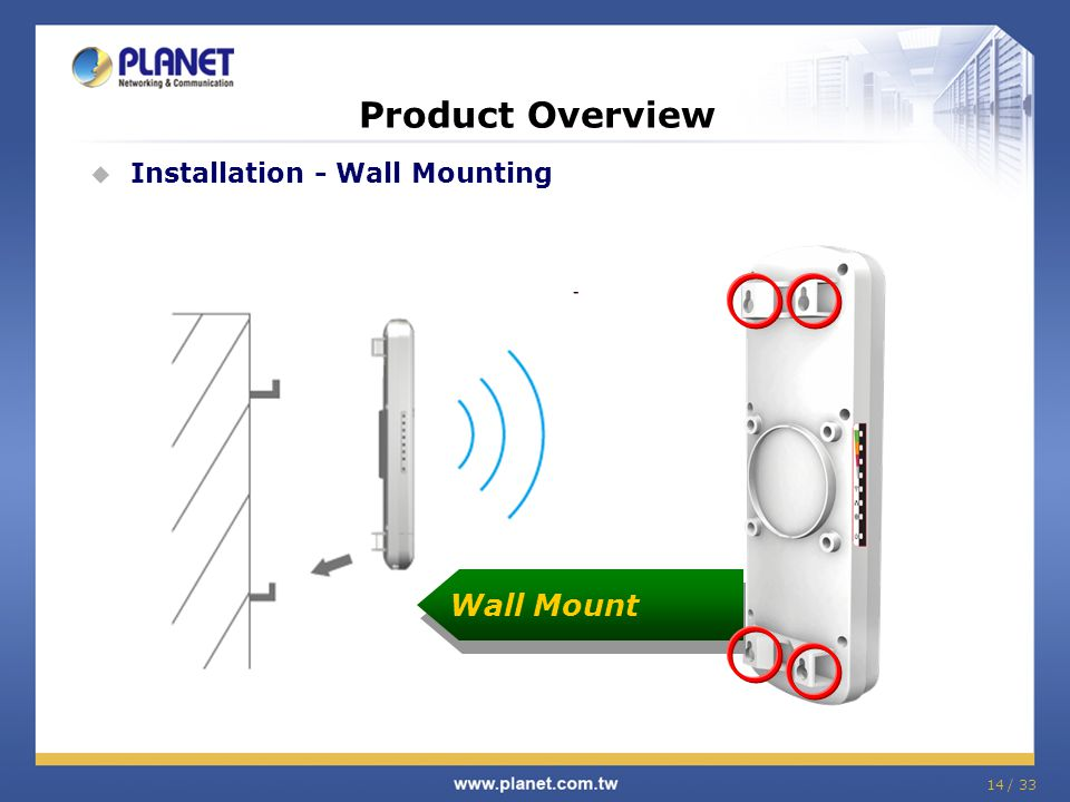 Product Overview  Installation - Wall Mounting Wall Mount 14 / 33