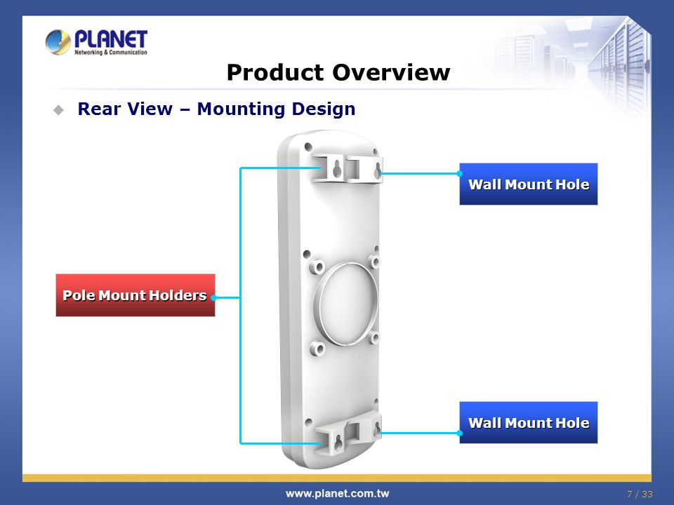 Wall Mount Hole Wall Mount Hole 7 / 33 Product Overview  Rear View – Mounting Design Pole Mount Holders Wall Mount Hole Wall Mount Hole
