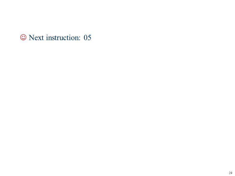 29 JNext instruction: 05