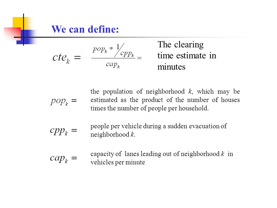 The clearing time estimate in minutes the population of neighborhood k, which may be estimated as the product of the number of houses times the number