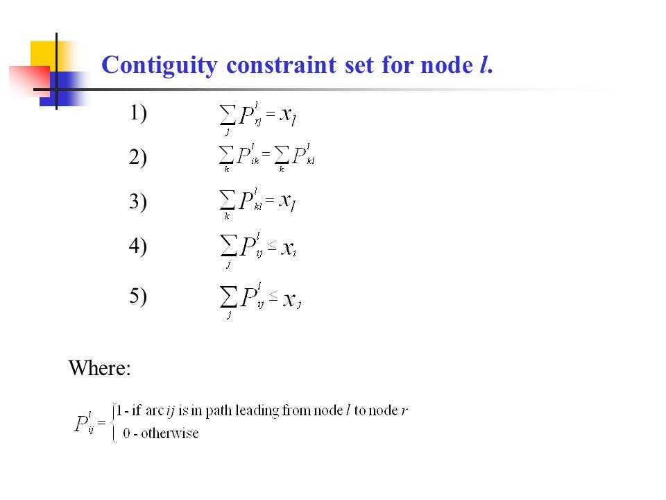 Contiguity constraint set for node l. Where: 1) 2) 3) 4) 5)