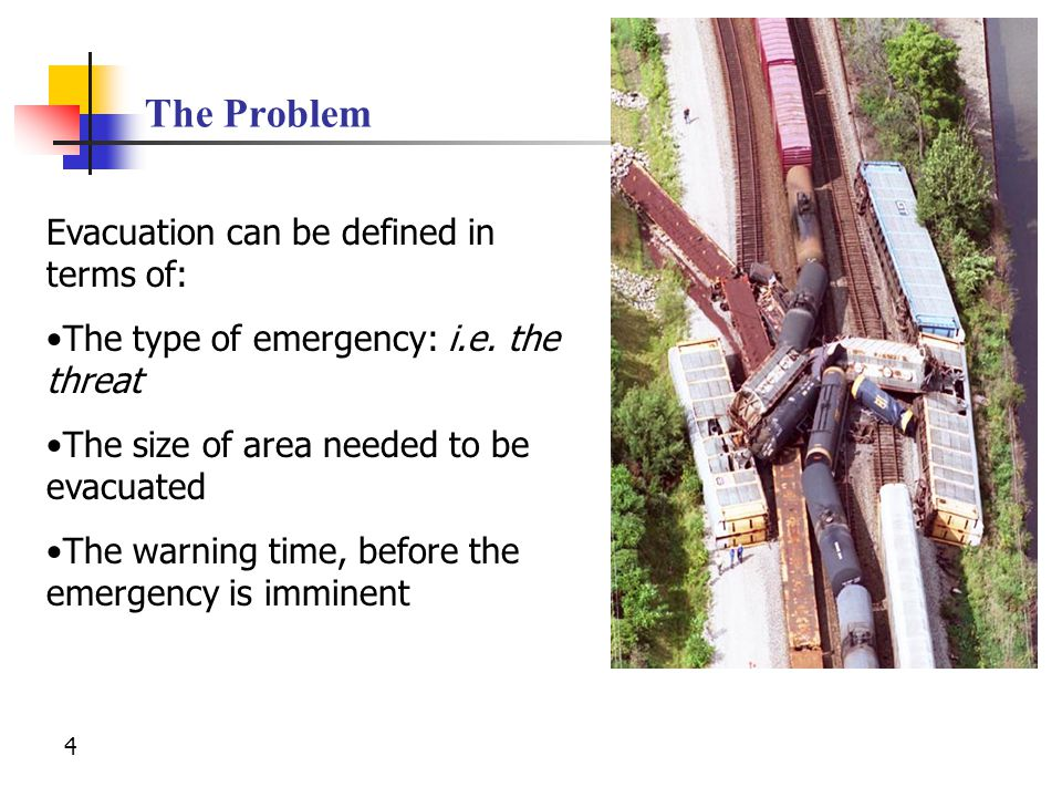 The Problem Evacuation can be defined in terms of: The type of emergency: i.e.