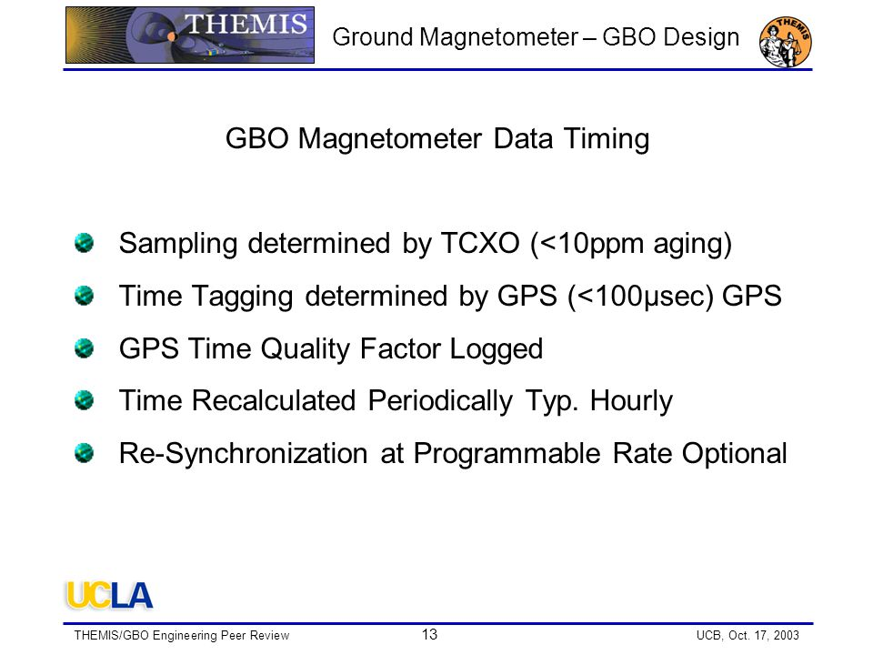 THEMIS/GBO Engineering Peer Review 13 UCB, Oct.