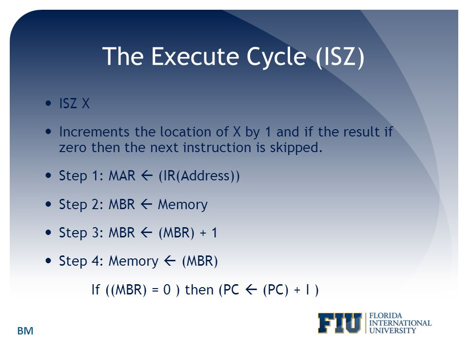 The Execute Cycle (ISZ) ISZ X Increments the location of X by 1 and if the result if zero then the next instruction is skipped. Step 1: MAR  (IR(Addr