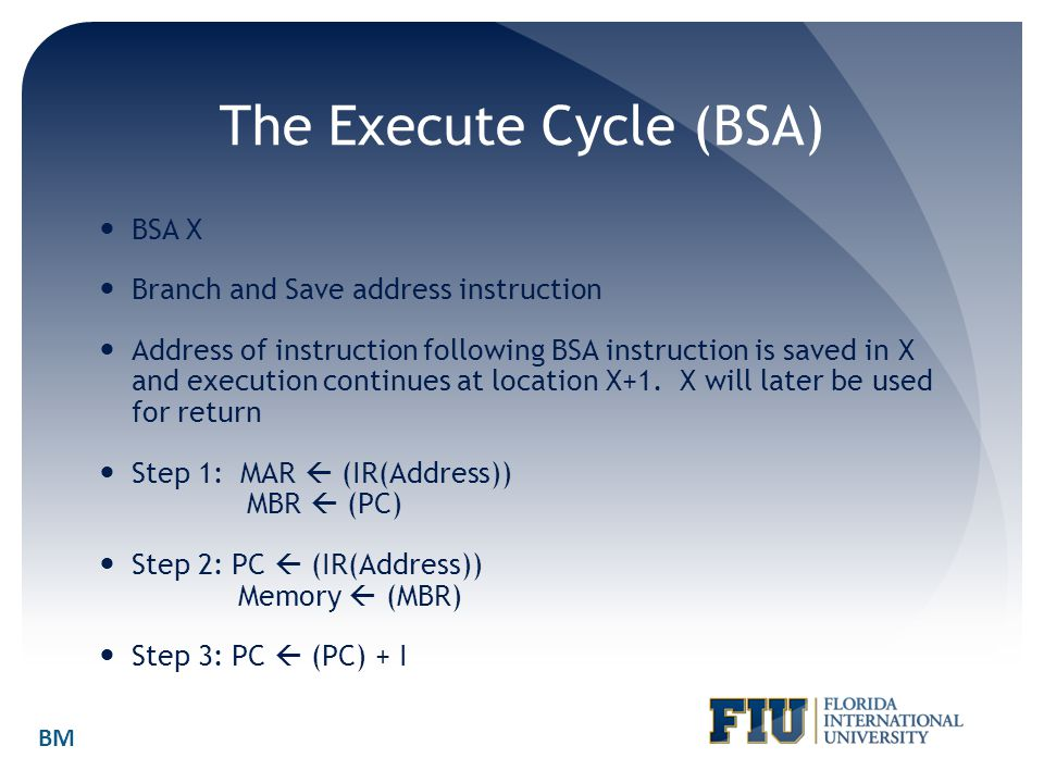 The Execute Cycle (BSA) BSA X Branch and Save address instruction Address of instruction following BSA instruction is saved in X and execution continu